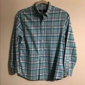 Vineyard Vines Whale shirt. Teal plaid. Medium